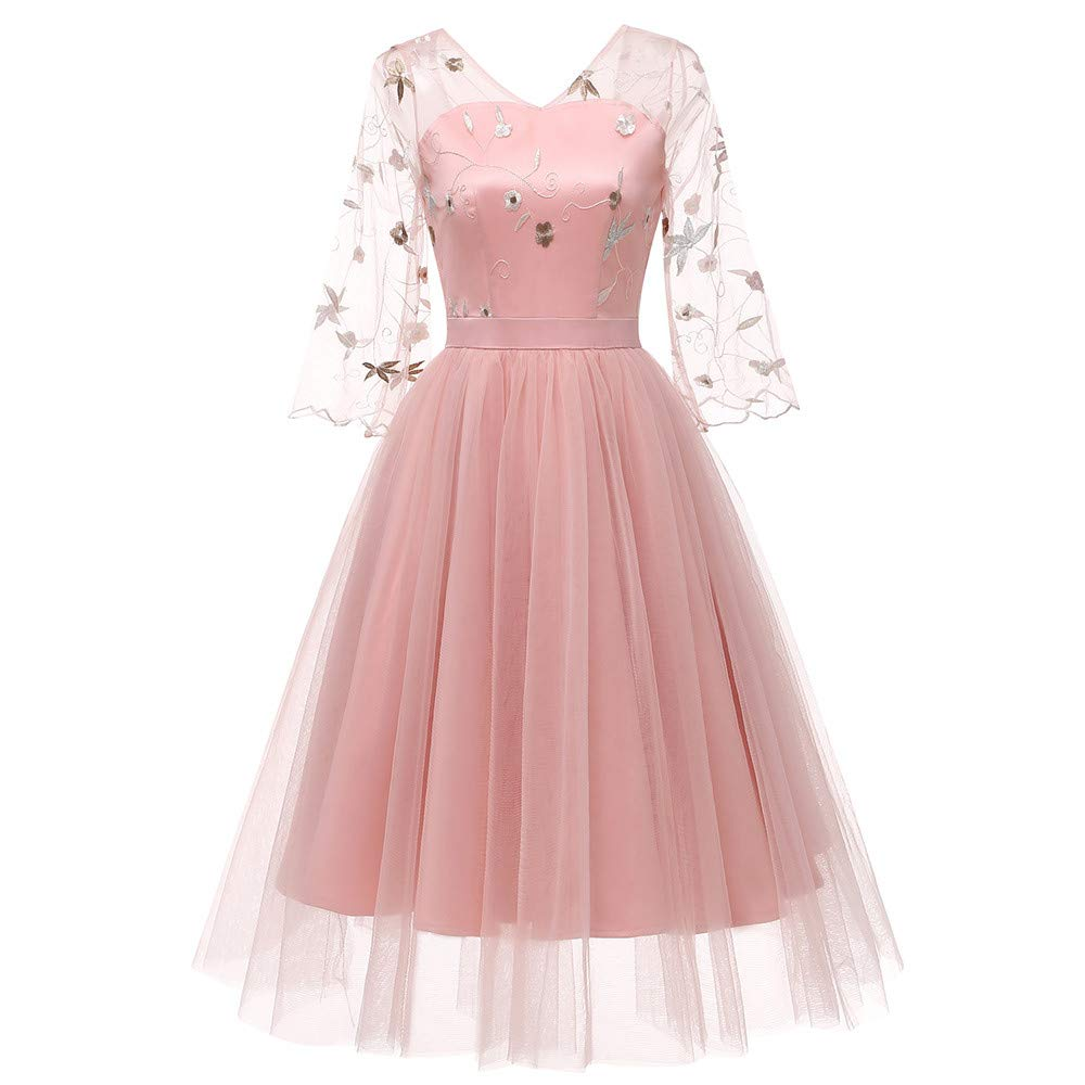 Dress Jackets for Women Formal,Women Vintage Princess Floral Lace Cocktail V-Neck Party Aline Swing Dress,Women > Clothing > Dresses,Pink,XL