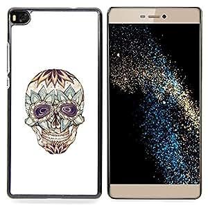 GIFT CHOICE / Teléfono Estuche protector Duro Cáscara Funda Cubierta Caso / Hard Case for Huawei Ascend P8 (Not for P8 Lite) // Floral Crazy Skull Death Tattoo Ink //
