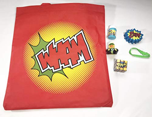 Superhero Large Overnight Bag Includes Stress Ball, Bracelet, Rubber Duck, Puzzle and Bubbles - Easter, Birthday, Christmas, ()