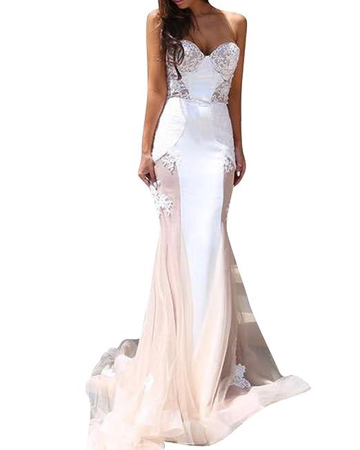 SaiDeng Mujer Maxi Vestido Elegante Cabestro Vestidos Sin Tirantes Vestido De Novia Pink XL