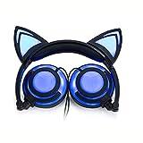 Hunputa Cute Foldable Cat Ear LED Music Lights USB Charger Ear Buds Game Headphone Earphone Headset for Laptop (Blue) For Sale