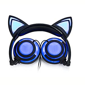 Hunputa Cute Foldable Cat Ear LED Music Lights USB Charger Ear Buds Game Headphone Earphone Headset for Laptop (Blue)