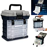 RG Portable Handheld Fishing Tackle Box 4 Layers Bulk Drawer Organizer Tool Fishing Lures Hooks Accessories Storage Tray Bait Case with Handle Utility Box