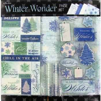 Mint Winter Theme Personalized (Winter Wonder 12x12 Page Kit, 14 pcs, Sparkly, Snowflakes, Trees,Gems)