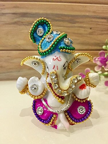 Karigaari Ceramic Ganesha Car Dashboard Idol, 3x2x3 Inches, Multicolour