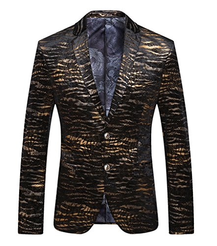 Print Blazer (OUYE Men's Golden Leopard Two Button Casual Blazer Jacket 3X-Large)