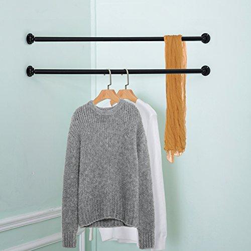Set of 2 Matte Black Wall Mounted Metal Corner Clothing Hanging Bar, Garment Rack (Hanging Clothing)