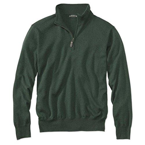 Silk And Cashmere - Orvis Cotton/Silk/Cashmere Zipneck Sweater, Evergreen, XL
