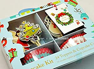 24 Toppers and Cupcake Cases Kit for Christmas Party Kids Birthday