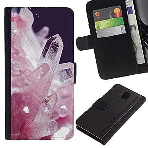 APlus Cases // Samsung Galaxy Note 3 III N9000 N9002 N9005 // Rosa Blanco Cristales preciosos piedras Espíritu // Cuero PU Delgado caso Billetera cubierta Shell Armor Funda Case Cover Wallet Credit Card