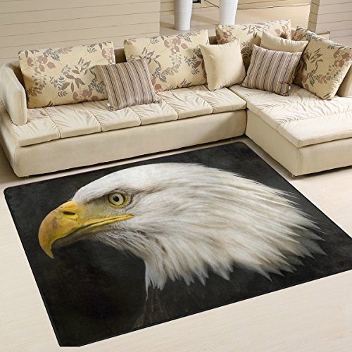 - American Bald Eagle Playmat Floor Mat For Dining Room Living Room Bedroom, 7'x5' and 5'3
