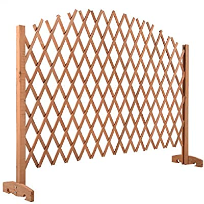 Expandable Patio Fence Wooden Screen Portable Pet Safety Gate Garden