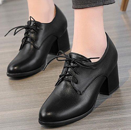 Bloc Fashion Easemax Couleur Femme Talon Richelieus Chunky Noir Unie Rtwgv7