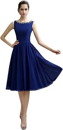 knee length royal blue chiffon cocktail dress
