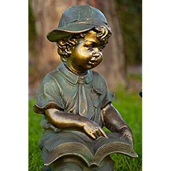 Alpine Corporation Girl and Boy Reading Statue Set - Outdoor Decor for Garden, Patio, Deck, Porch - Yard Art Decoration - Includes 2 Statues