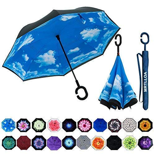 (MRTLLOA Double Layer Inverted Umbrella with C-Shaped Handle, Anti-UV Waterproof Windproof Straight Umbrella for Car Rain Outdoor)
