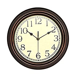 Foxtop 12 inch Silent Non-ticking Ultra-quiet Round Wall Clock Decorative Vintage Style, Home Decorative Clocks (Brown)