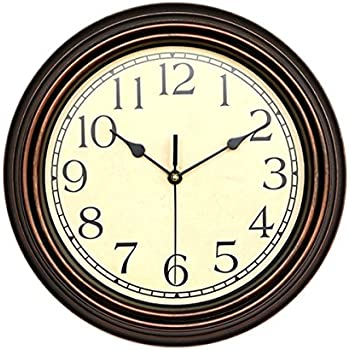 nice design quiet wall clock. Foxtop 12 inch Silent Non ticking Ultra quiet Round Wall Clock Decorative  Vintage Style Amazon com