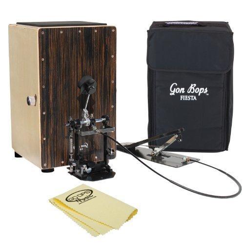 Gon Bops FSCJW Fiesta Walnut Cajon with Cajon Pedal, GoDpsMusic Polish Cloth & Carry Bag