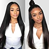 (US) Beauty On Line Straight Human Hair Wigs 3 Part 4x4 Lace Front Wigs For Black Women Brazilian Hair Lace Wigs With Pre Plucked Hairline Natural Color 130% Density