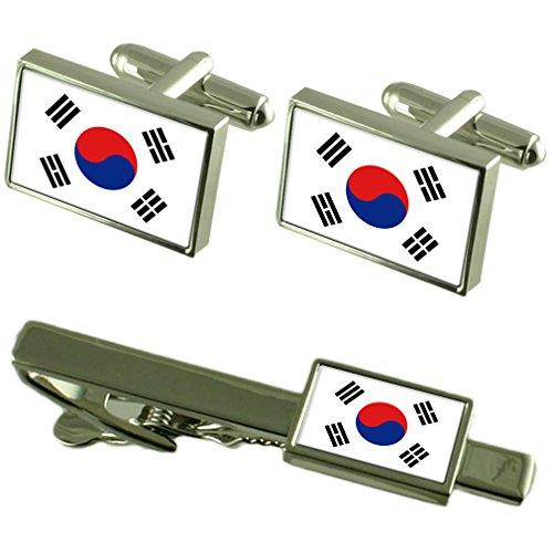 Drapeau de la Corée du sud de manchette-cravate un Ensemble cadeau correspondant