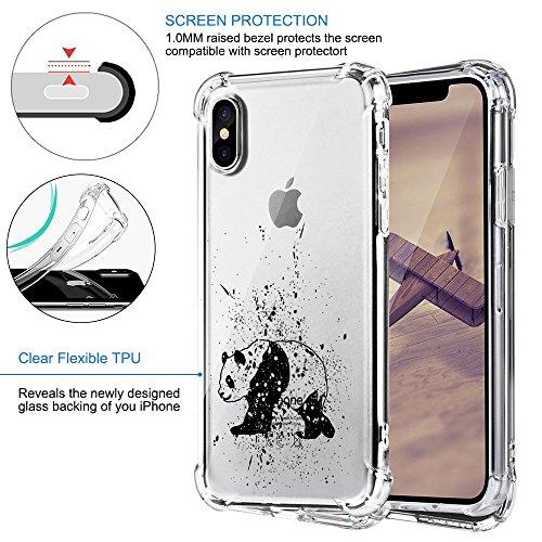 Funda iPhone X Carcasa Silicona Transparente Protector TPU Panda Ultra-delgado Anti-Arañazos Case para Teléfono Apple iPhone 7/7 Plus/8/8 Plus Caso Caja Estuche Patrón 06