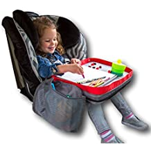 Kids E-Z Travel Lap Tray, provides organized access to drawing, snacks and activities for hours on-the-go. Includes BONUS printable travel games, Patent Pending (Red)
