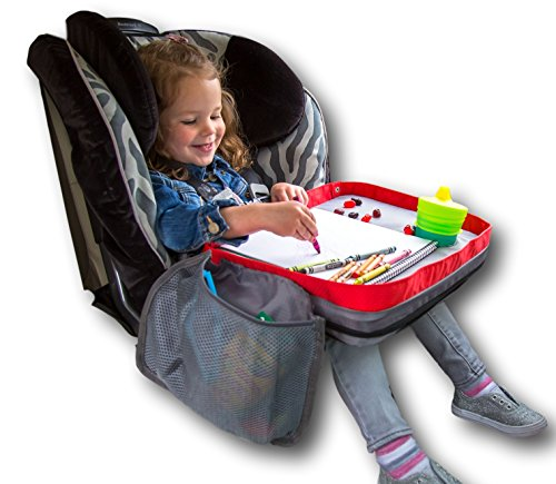 Kids E-Z Travel Lap Desk Tray - Universal Fit for Car Seat, Stroller & Airplane - Organized Access to Drawing, Snacks, and Activities. Includes BONUS Printable Travel Games - (Red) - ModFamily