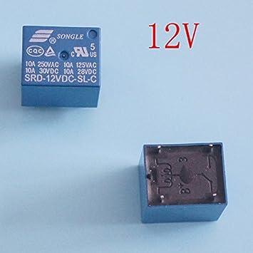 Relé de alimentación de 12 V CC tipo Pcb, Srd-12vdc-sl-c, paquete de 5