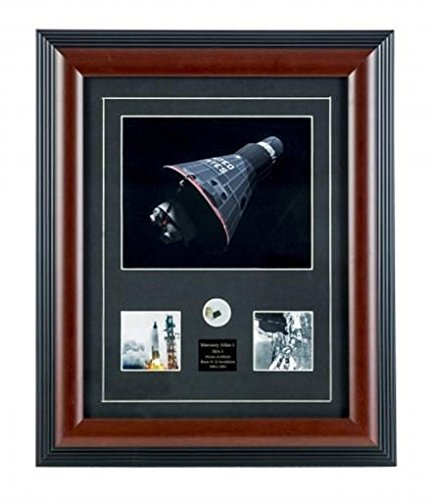 CENTURY CONCEPT Mercury Atlas Historic Framed Print and Relic Wall Decor for Collectors | Includes a Fragment of After-Body Shingle and Certificate of Authenticity