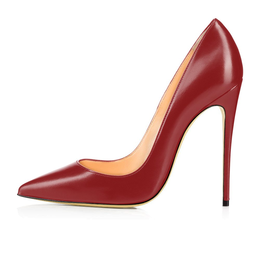 Modemoven Women's Pointy Toe High Large Heels Slip On Stilettos Large High Size Wedding Party Evening Pumps Shoes B073Y6QHFQ 11 B(M) US|Wine Red Faux Leather 9e3737