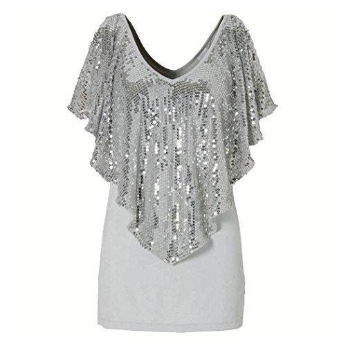 UPC 650713797355, Women Summer Shirt, Inkach Women Sequin Sparkle Glitter Tank Short Sleeve Top T-Shirt Blouse (S, Gray)