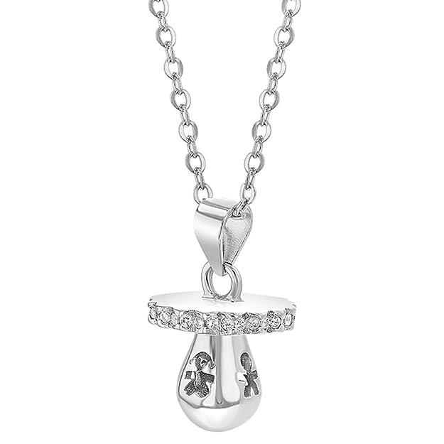 Amazon.com: Chupete de plata de ley 925, collar de circonita ...