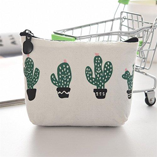cactus llave Mujer Bolsa Bolso Billetera de Doitsa de Moda monedas 2 Monedero Mini Lona Patrón de BYnxw5aqgv
