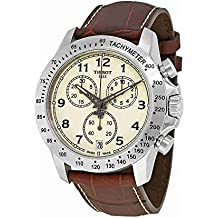 Tissot V8 T106.417.16.262.00 Ivory / Brown Leather Analog Quartz Men's Watch