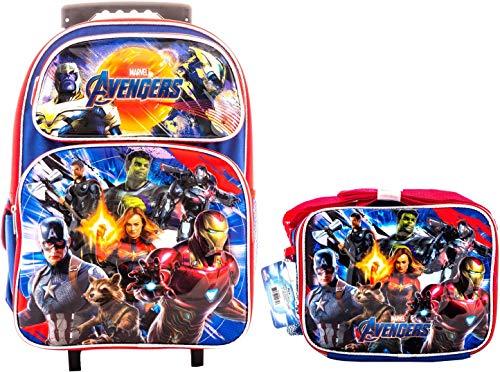 Kids Backpack and Lunch Box Combo for Kids Who loves Avengers EndGame Marvel Super Hero (16 inch Rolling w/LB)