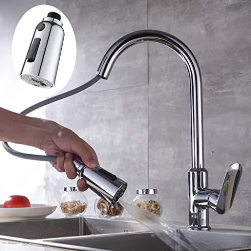 Tpingfe Faucet Pull Head Accessories Adjustable 3 Function Switch Shower Head Water Flow (Faucet Gooseneck Deck Mount Nozzle)