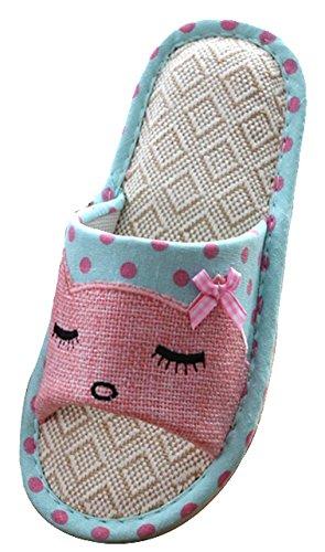 Blubi Mujeres Summer Cat Zapatillas De Casa De Lino Cosy Ladies Slippers Zapatillas De Punta Abierta Azul