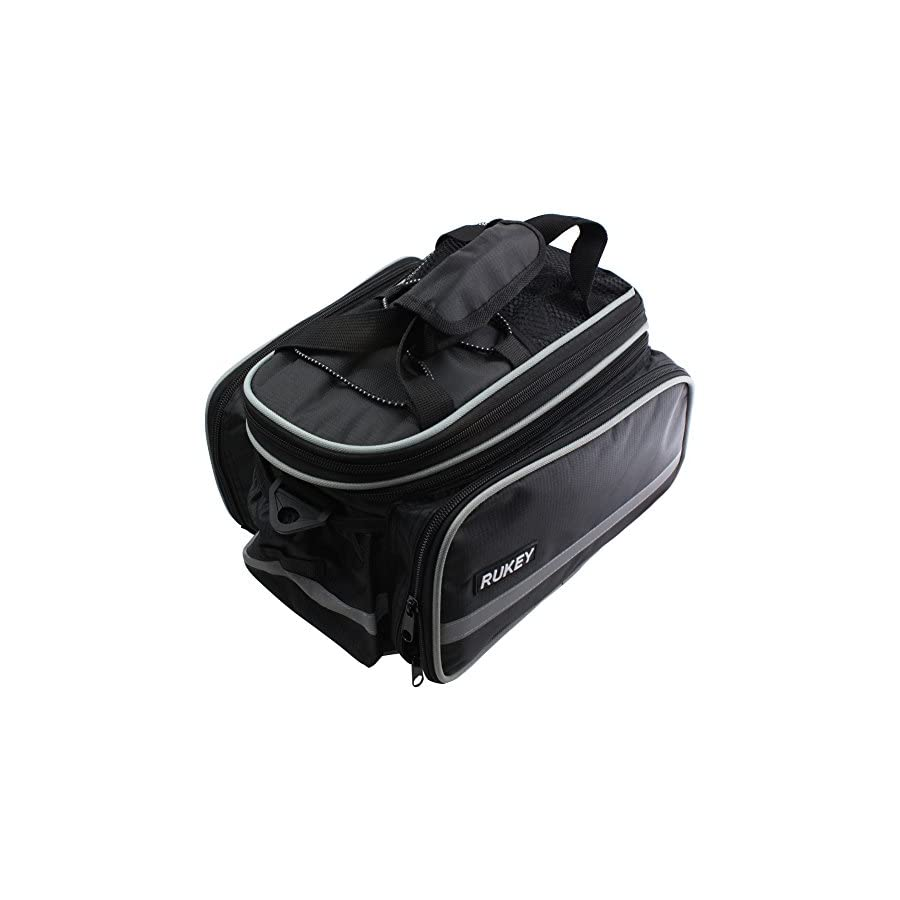 Bike Rear Seat Waterproof bag Multi Function Excursion Bicycle Cycling Bag Carrying Luggage Package Panniers with Rainproof Cover RUKEY