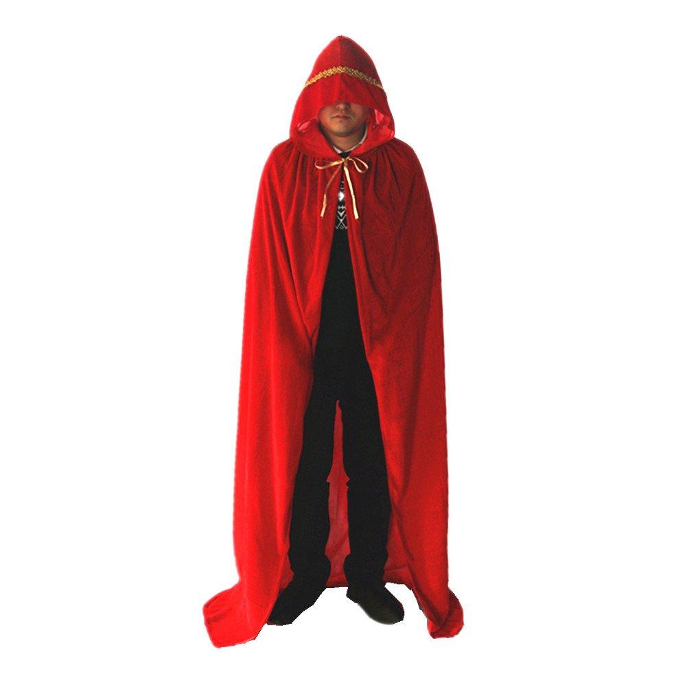 Labellevie Terciopelo Capa con Capucha Largo Disfraces para adultos Disfraces de Halloween Púrpura 110cm