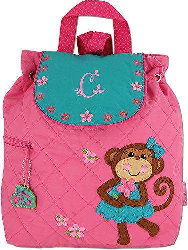 - Monogrammed Me Quilted Backpack, Pink Girl Monkey, with Garden Monogram C