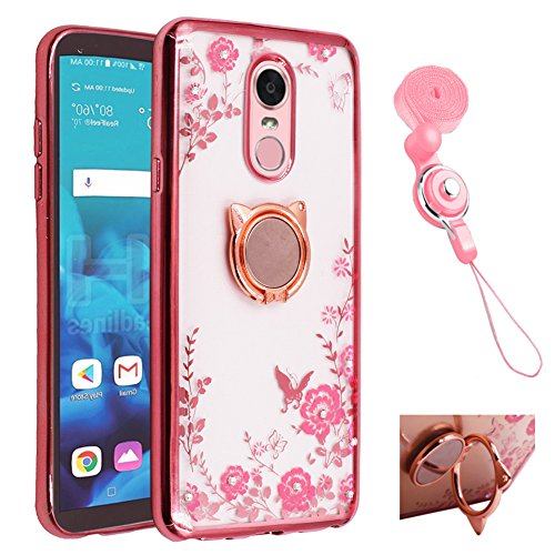 BestShare for LG Stylo 4 Case, LG Q Stylus/LG Stylo 4 Plus, Bling Crystal Soft Transparent Silicone Back Slim Fit Case Kickstand Protective Cover & Metal Ring Holder Grip, Mirror (Metal Case Stylus)