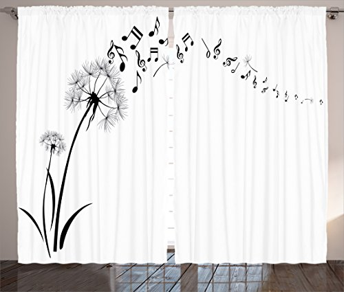 Ambesonne Music Decor Curtains By, Flying Dandelions With Note Music Summer Meadow Silhouette Softness Simple, Living Room Bedroom Decor, 2 Panel Set, 108 W X 84 L Inches