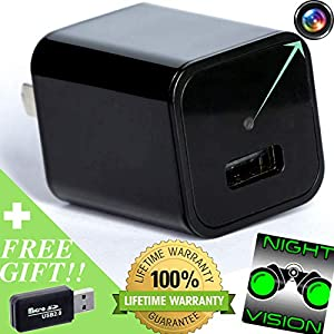 Hidden Camera Night Vision Spy Camera with Audio, Motion Activated Wireless HD 1080p Video for Surveillance Security System Perfect as Nanny Cam, Portable Covert USB Spy Cam Upgraded 2018