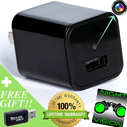Hidden Camera [Night Vision Spy Camera] HD 1080p Video > Motion Activated for Surveillance Security System Perfect as Nanny Cam > Covert USB Spy Cam