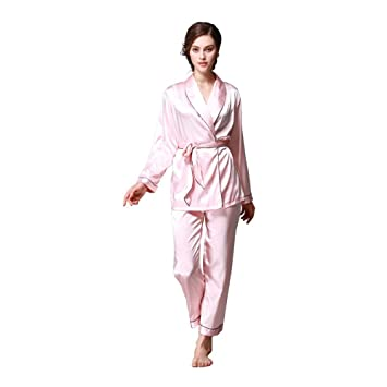HAOLIEQUAN Pijamas De Seda De Las Mujeres 2-Peice Set Satin Silk Señoras Ropa De