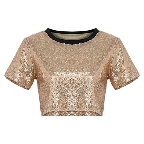 Gabrine Women Glitter Sequin T-Shirt Scoop Neck Short Sleeve Short Blouse Crop Tops(Apricot XL)