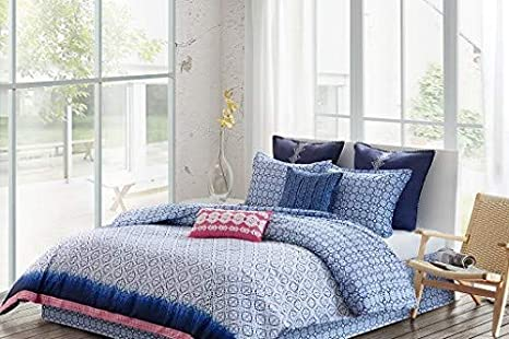 Amazoncom Echo Design Shibori Queen Size Bed Comforter Set Blue