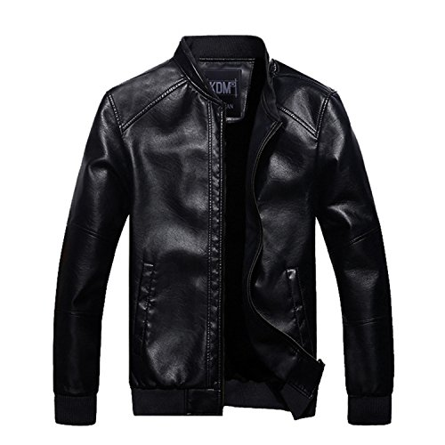 Musamk Dashing New Arrival 2016 Autumn & Winter Fashion Men's PU Leather Jacket With Fur Inside Solid Warm Windbreaker Jacket MWP253 BlackXXL High Grade
