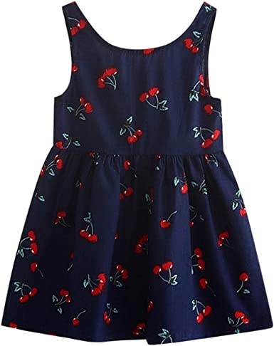 Toddler Girl Summer Princess Dress Kids Baby Print Party Sleeveless Casual Dress